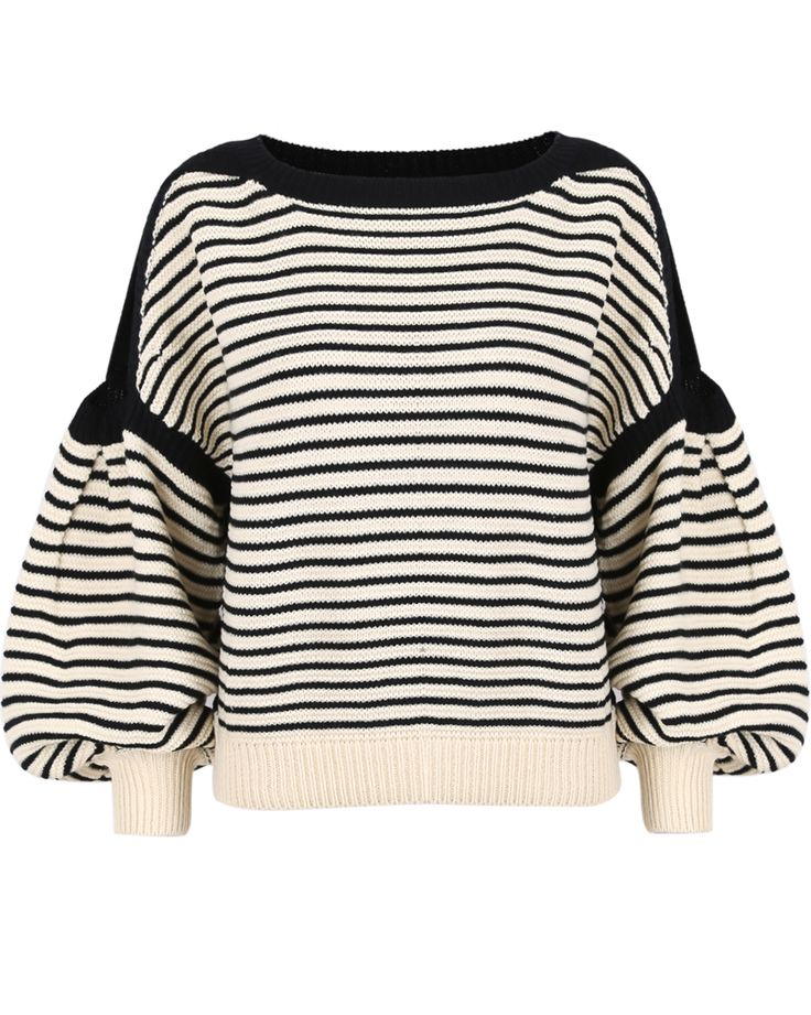 Black Apricot Cut Out Shoulder Puff Sleeve Sweater EUR€24.08