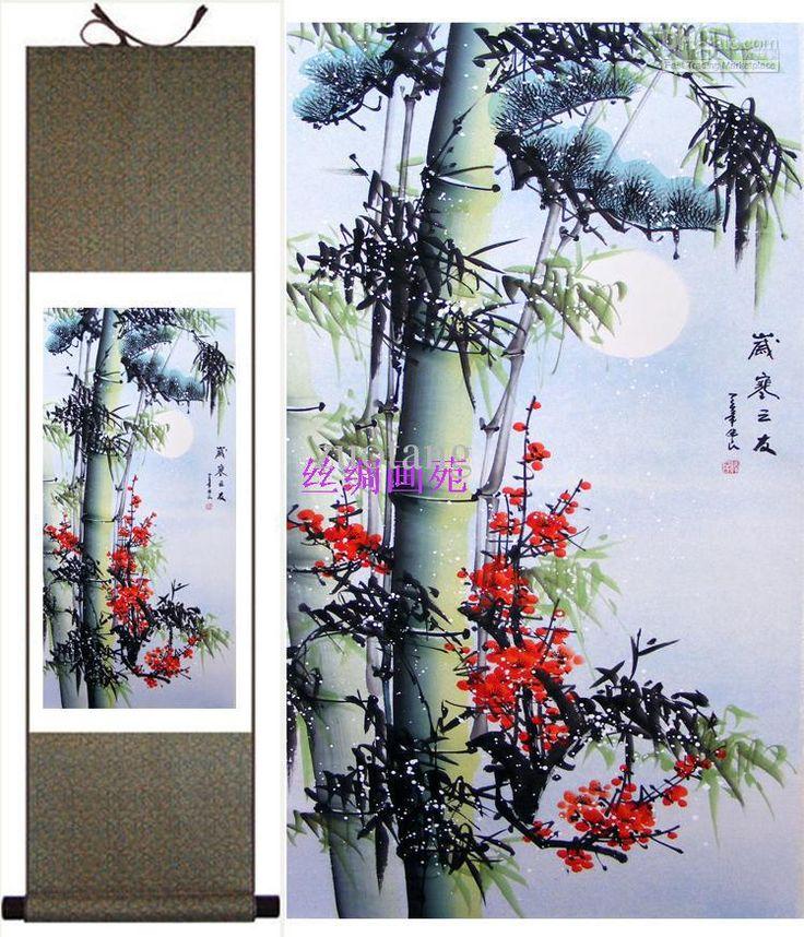 seta dipinti fiore dipinto appeso a parete pittura cinese con pacchetto scatola 1pz