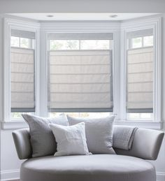 """Top-down bottom-up plain classic pleated Roman shades in """"brie."""""""