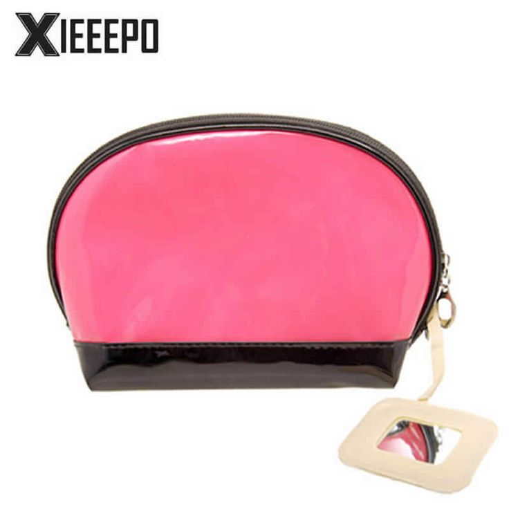 Fashion Travel Cosmetic Bag With Mirror Women PU Leather Makeup Case Zipper Make Up Bags Organizer Storage Pouch Toiletry Bags