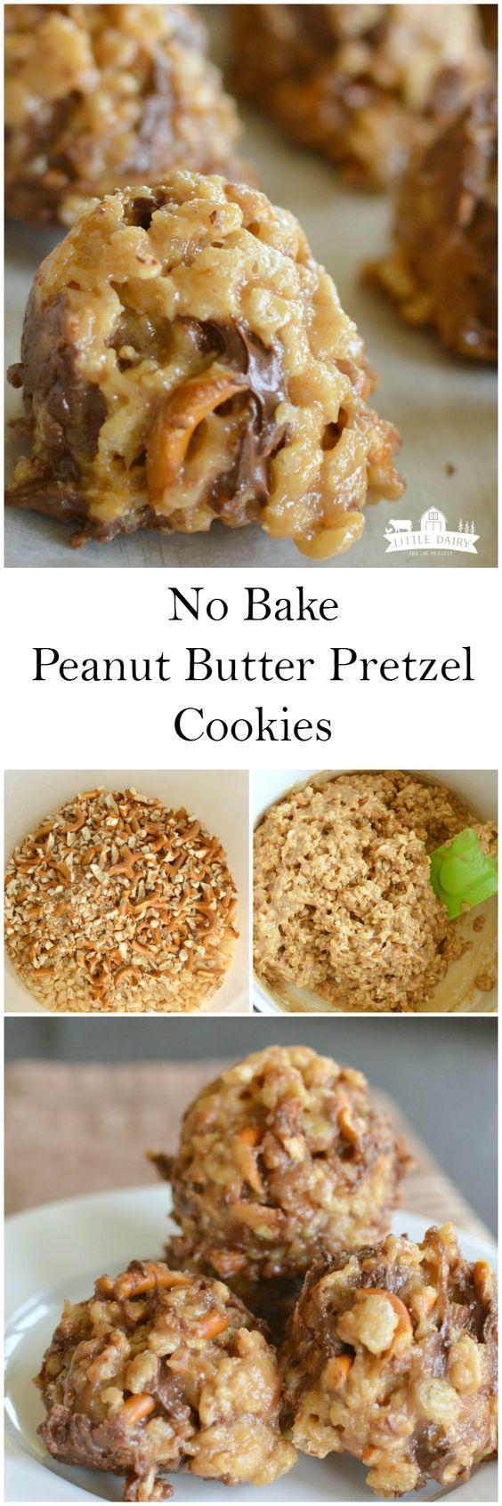 No Bake Peanut Butter Pretzel Cookies | Recipe