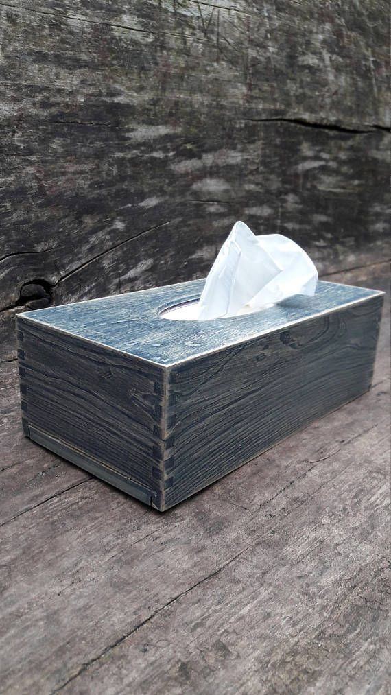 Rustic Tissue Box Cover Hand Stained Wooden Rectangular