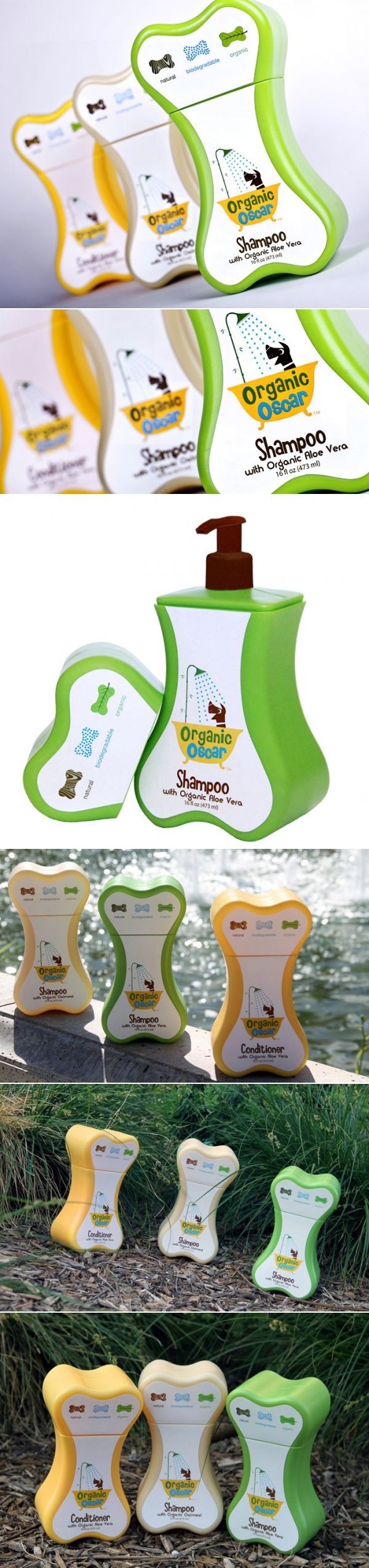 Organic Oscar's new collection features Organic Oatmeal Shampoo, Organic Aloe Vera Shampoo and Organic Aloe Vera Conditioner. Developed under the supervision of veterinarians. I We dig how the colors give way to a line that is healthy and holistic - fun! I #PetBusinessGraphicDesign