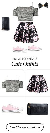 """""""Cute school outfit"""" by bellaboo2123 on Polyvore featuring Boohoo, Converse, Moschino and H&M"""