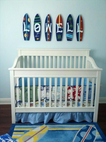 A vacation-themed baby boy's nursery
