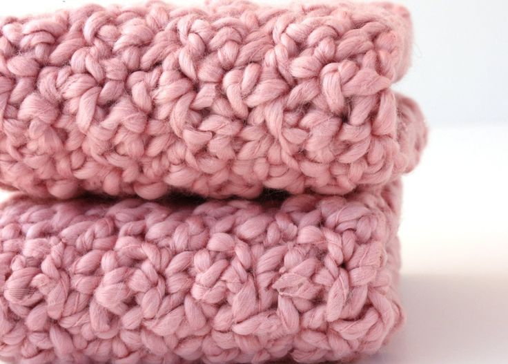 Bath and Beauty Natural Organic Cotton Crochet WashCloths - Pink Strawberry. $9.50, via Etsy.