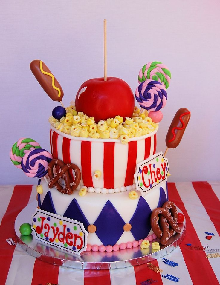Birthday Cakes - I made this cake for my twin daughters that turned 6 yrs old. They had a carnival themed birthday party. I found several different cakes online that I got inspiration from to come up with my cake...thank you! Everything was made out of fondant. It was such a fun cake to make. Thank you for looking!