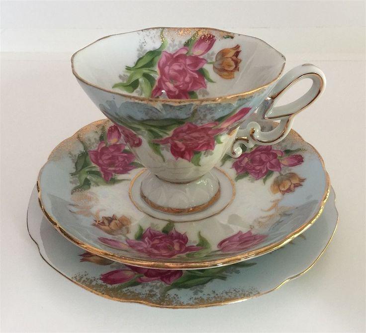 Vintage Floral Trio Cup Saucer Plate Gold Trim Blue Ornate Handle #1