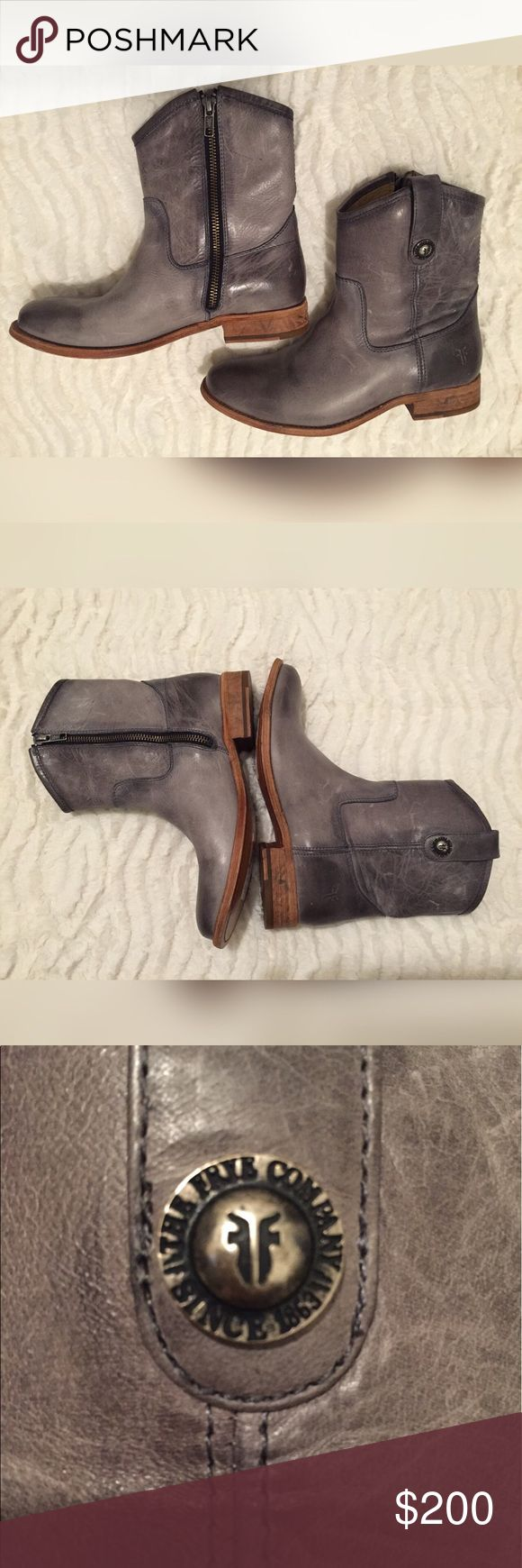 Frye Melissa Button Short Boots in Ice Leather Boots with 1 Inch Heels Frye Shoes