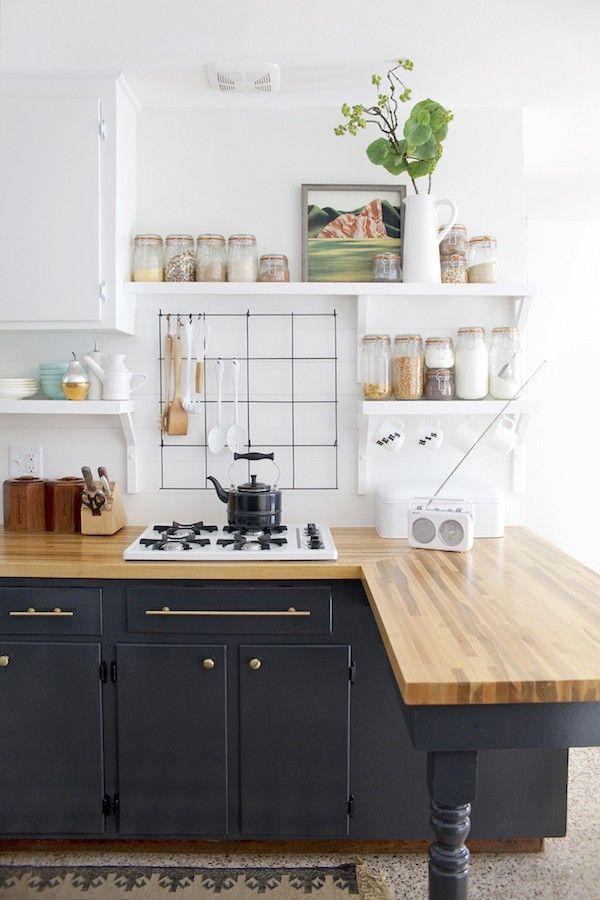 Charcoal Cabinetry - Paint Color - Butcher Block - Wood Countertop - Kitchen Design