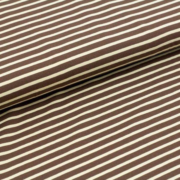 Bio-Stoffe - Bio Jersey Streifen braun-beige 0,50m x 1,55m - ein Designerstück von LisanellaStoffe bei DaWanda