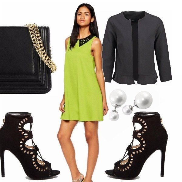Allontaniamoci dall'idea di bon ton stile anni '50, vitini stretti e gonna ampia. Qui vi propongo un abitino smanicato di un verde senz'altro particolare, con colletto in pizzo nero. Orecchini di perle, sempre molto eleganti, giacca stile blazer con volant in fondo e scarpe dal tacco alto, con laser-cut che riprende il colletto.