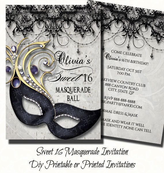 Sweet Sixteen Masquerade Party Invitation |  Masquerade Invite | Sweet Sixteen Invitation | Digital Print or Printed Invite with FREE SHIP by TheInspiredEdge on Etsy