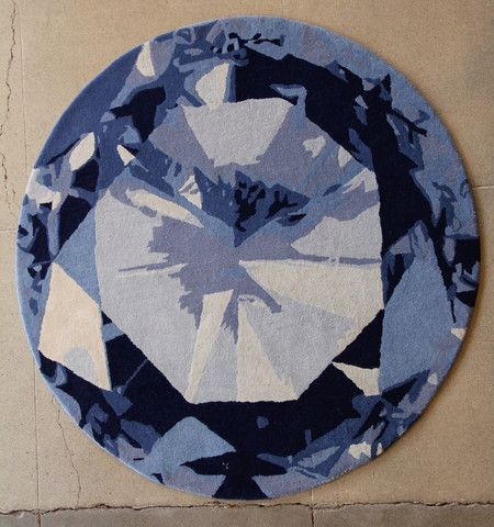 Diamond Deep Ocean Modern Rug Design In Round Circle Shape Kush Handmade Rugs