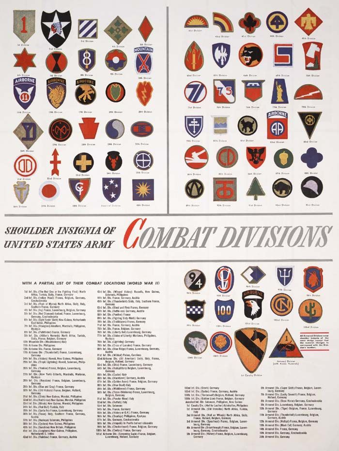 korean miltary ranks | ... Insignia of United States Army Combat Divisions of World War II