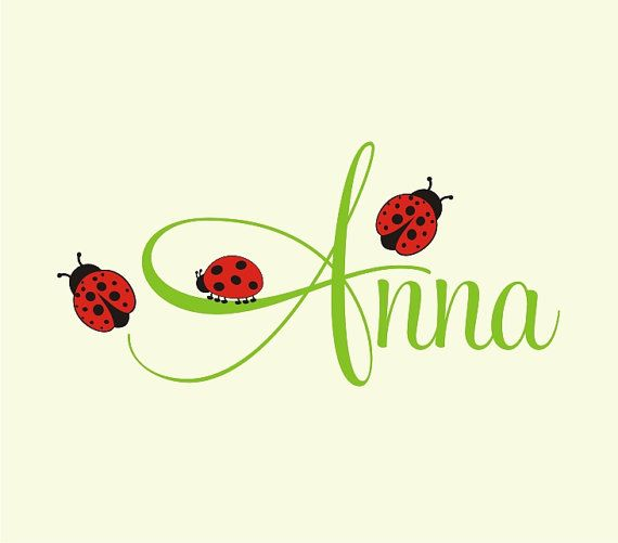 Personalized Name With Ladybugs, Custom Vinyl wall decals stickers, nursery, kids & teens room, removable decals stickers
