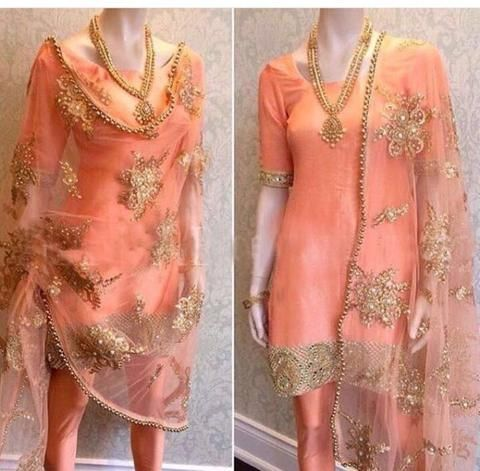 Peach Shantoon Punjabi Suit ,Indian Dresses - 1