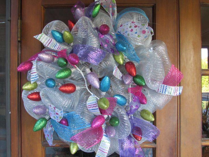 "26"" Christmas Wreath- Christmas Light Wreath- Christmas Bulb Wreath- Colorful Christmas Wreath- Deco Mesh Christmas Light Wreath- Vintage by CreativeSpacesbyGina on Etsy https://www.etsy.com/listing/210052810/26-christmas-wreath-christmas-light"