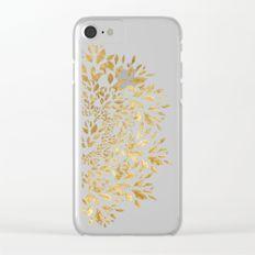Gold Leaves Mandala Clear iPhone Case