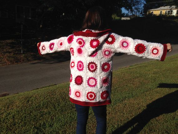 Ladies Granny Square Coat w/Hood