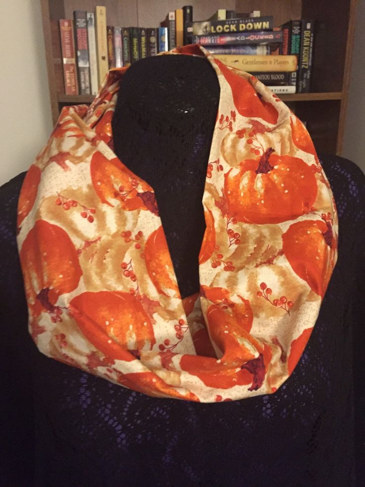 Orange Pumpkin, Fall Scarf, Autumn Scarf, Cotton Infinity Scarf, Halloween, Thanksgiving Scarf, Fall Fashion, Fall Accessory by ViasCutique on Etsy https://www.etsy.com/listing/218095534/orange-pumpkin-fall-scarf-autumn-scarf