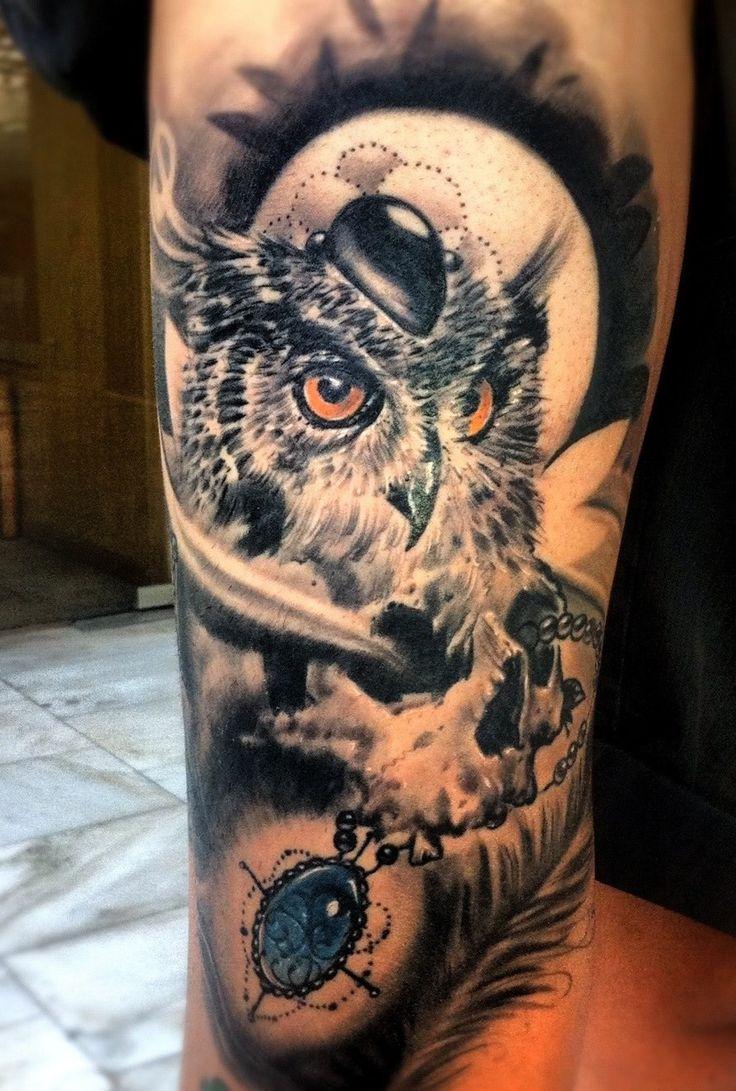 Pics Photos - Owl Skull Tattoo
