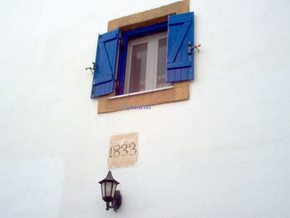 Blue summer, travel photo print, Greek islands - Kythira, blue shutters, lantern, old house dated 1833 via Etsy