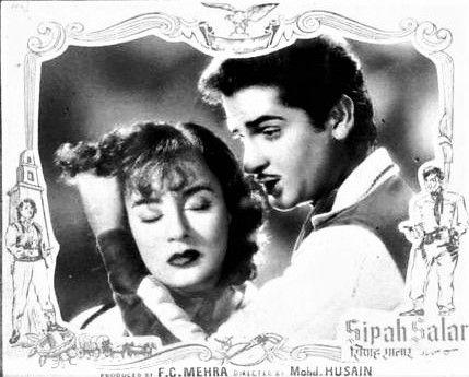 "simplicitylovebeauty: ""A rare lobby card of Shammi Kapoor and Nadira in Sipah Salar. """