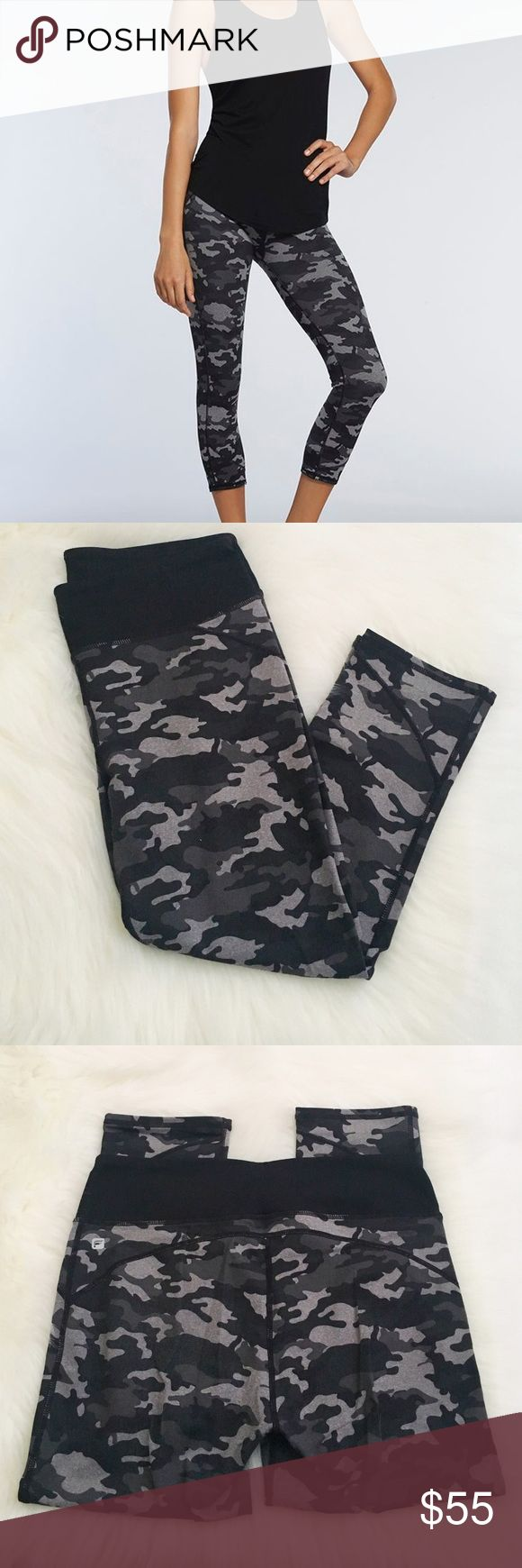 Fabletics Crops in army print Fabletics Crops in a gray & black Camo print. Excellent pre-worn condition, no pilling. No modeling/trades. Fabletics Pants Leggings