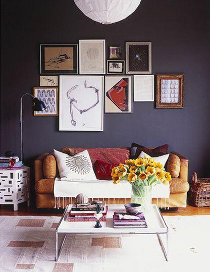 James Leland Day {eclectic vintage modern living room w/ black walls}