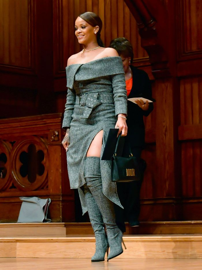 Rihanna accepted the 2017 Harvard University Humanitarian of the Year award wearing a Monse outfit straight from the runway.