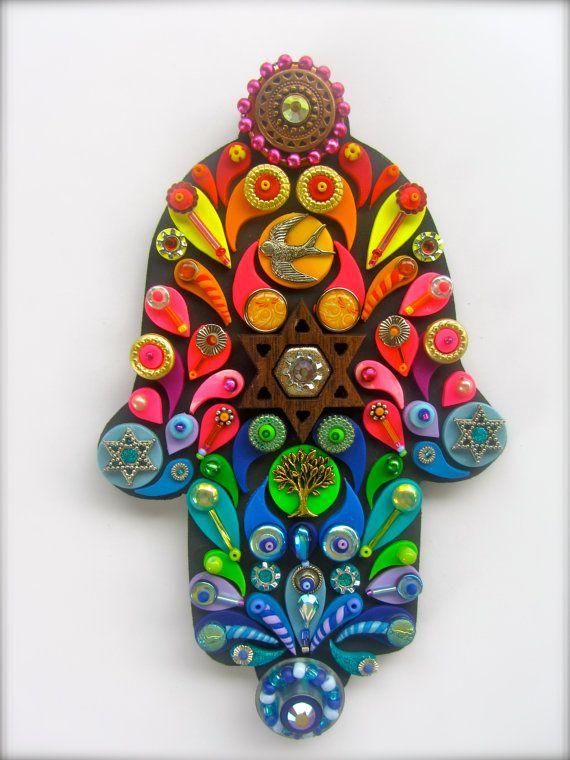 Arte judaica embellecido Hamsa judío pared arte por iluvPiC en Etsy