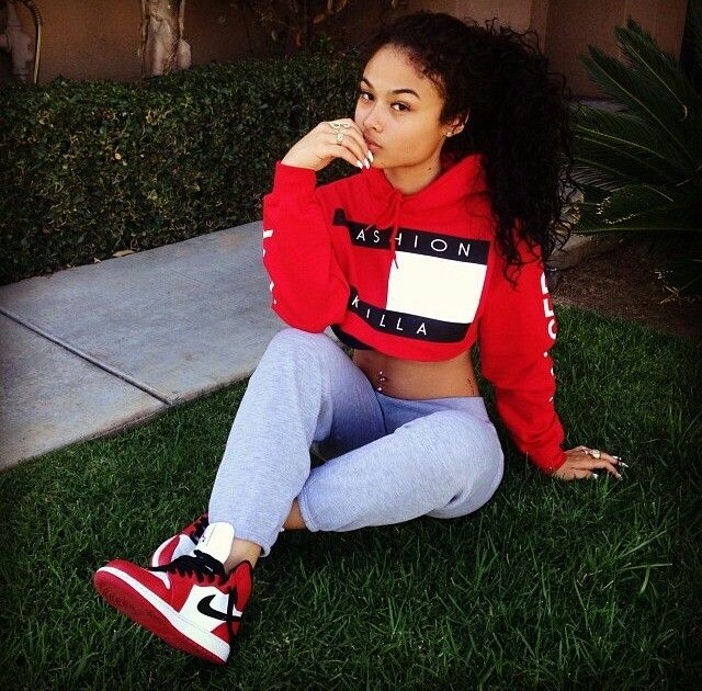 Beautiful Lady wearing a Fashion Killa sweatshirt along with some dope bike kicks so what woman wouldn't want to look as beautiful as she does an you can at freshnewgear.com