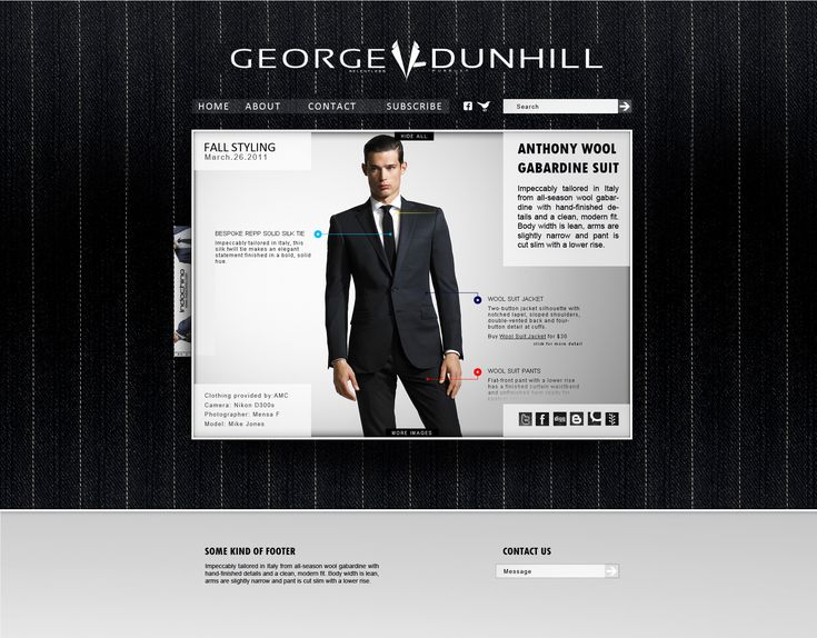 """Having spent a considerable amount of time and money on the programming and function of their website, the """"look book"""" needed a considerable tweaking to get everything perfect and looking great. A high contrast background, social icons, proper justification and solution for displaying inline advertising all helped together to strengthen the website. The look book is was passed on to the client successfully."""
