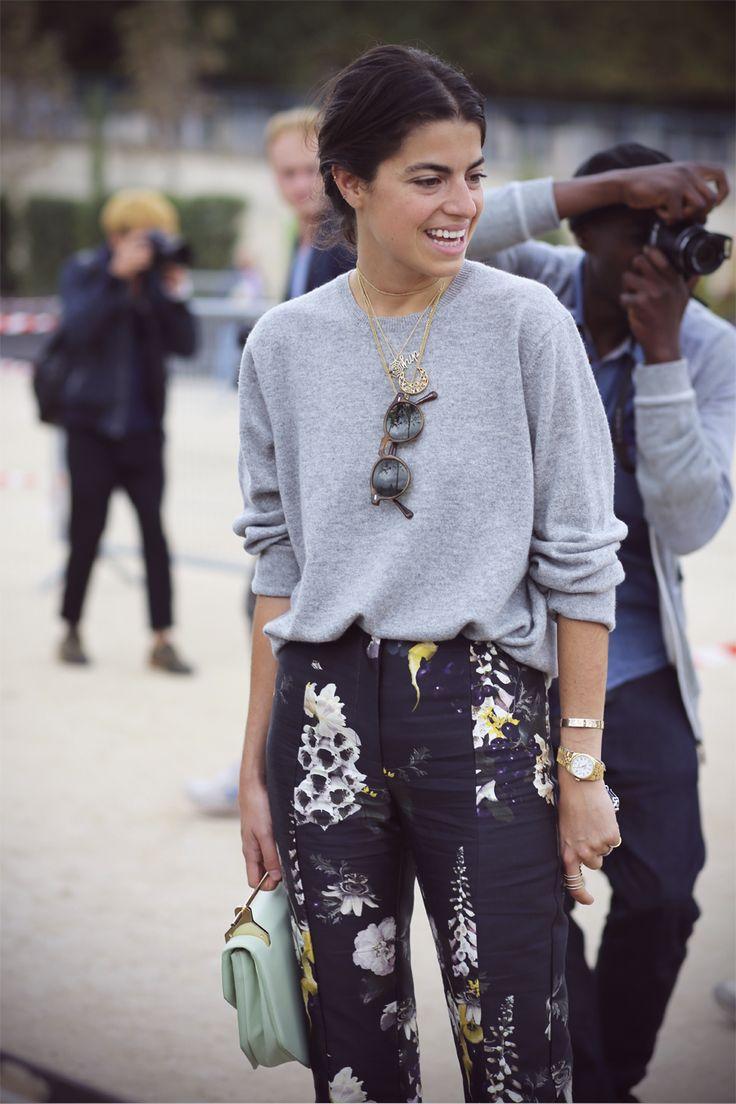 Grey Sweater, High Waist Printed Pants (Leandra Medine)