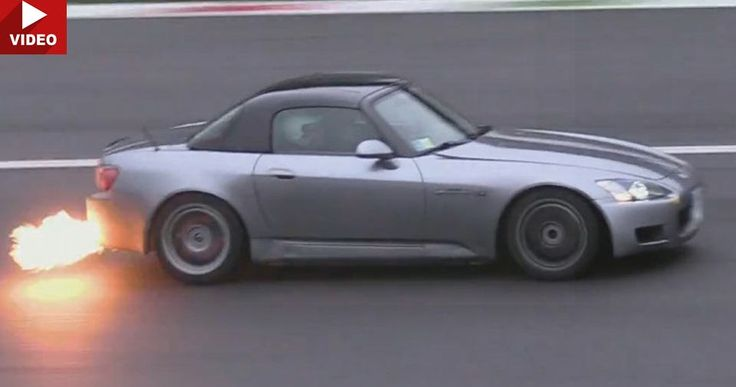 370 HP Honda S2000 Turbo Goes Power Sliding And Flame Throwing #Honda #Honda_S2000