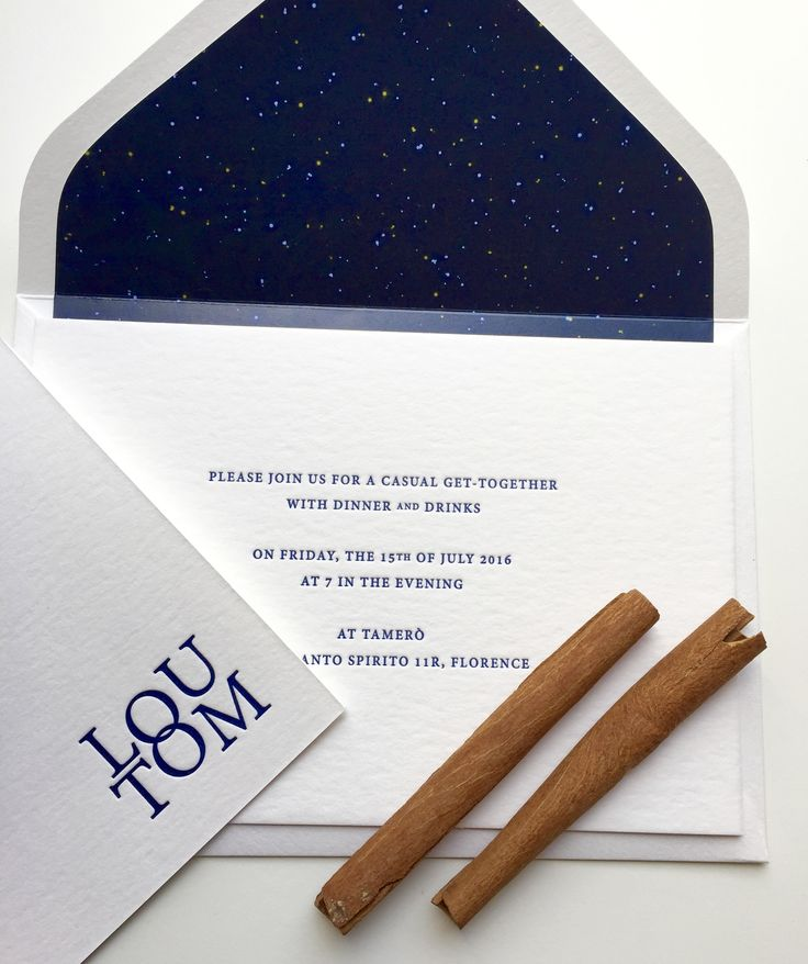 A beautiful and minimal wedding invitation with a fabulous stellar liner!