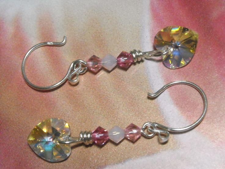 Crystal Heart Earrings Pink - First Kiss - Wedding Bridal Jewelry Pink Crystal Dangle Handmade Fashion Earrings On Etsy by UnikButikJewelry on Etsy