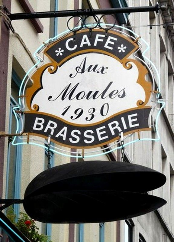 "PHOTO ENSEIGNE RESTAURANT ""AUX MOULES"" à LILLE"