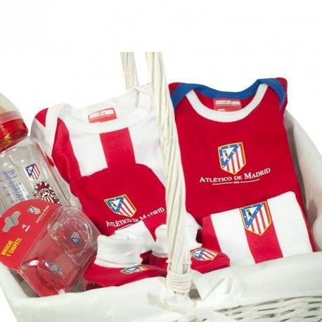 Cesta Atlético de Madrid 2 - cesta para bebe del atlético de Madrid con productos de Licencia Oficial y la Mejor Calidad - Viste a tu bebé con los colores del Atleti