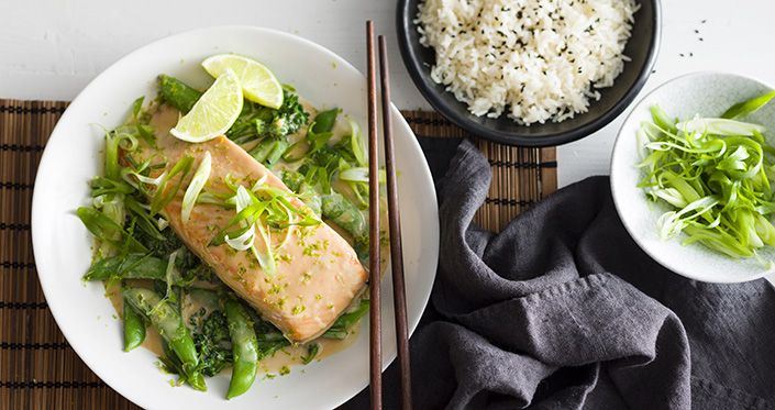 Coconut - Poached Salmon with Asian Greens