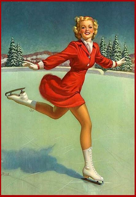 ice skating: Vintage Christmas, Racket, Al Buell,  Racquet, Vintage Pinup, Pinup Girls, Ice Skating, Vintage Girls, Pin Up Girls