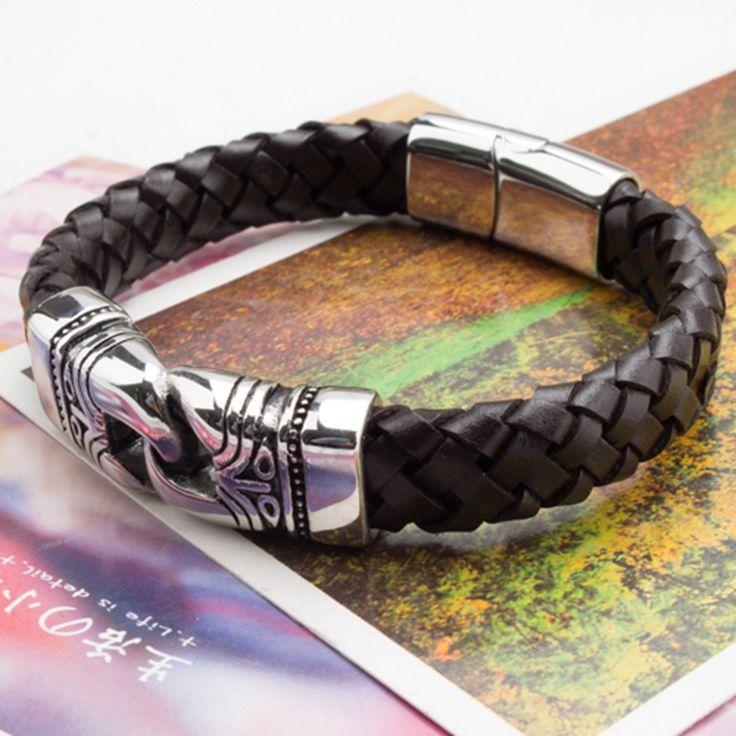 A&N Stainless Steel Figure Charm Black/Orange Genuine Leather Mens Bracelet Wrap Famous Brand Designer Men Jewelry Bracelet