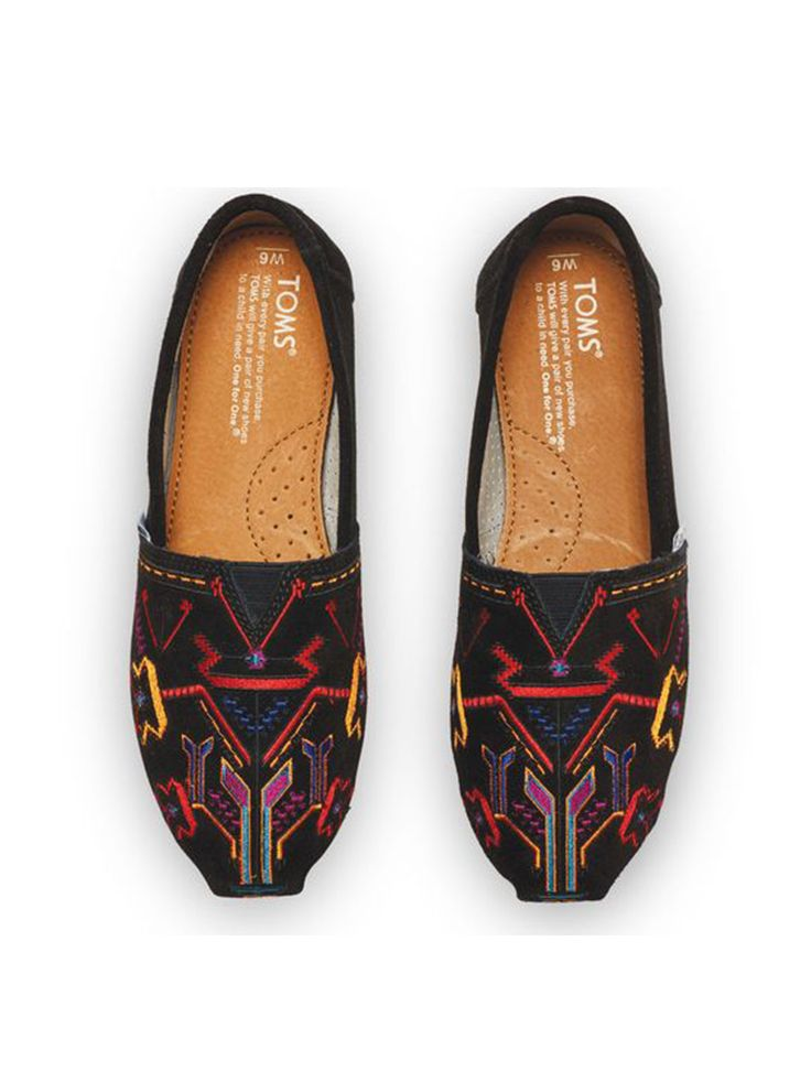 TOMS women's Black Embroidered Classics.