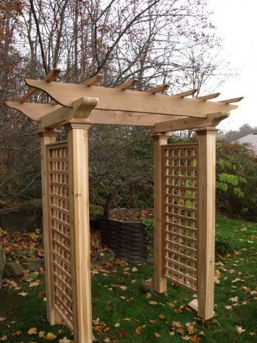 Craftsman-style wood arbor with handsome lattice work on ...