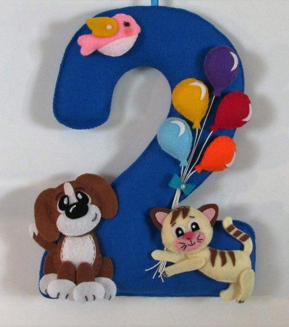 felt number felt decor kids birthday by FeltToysFromDiana on Etsy