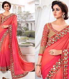 Buy Rani gajri plain jacquard saree with blouse jacquard-saree online