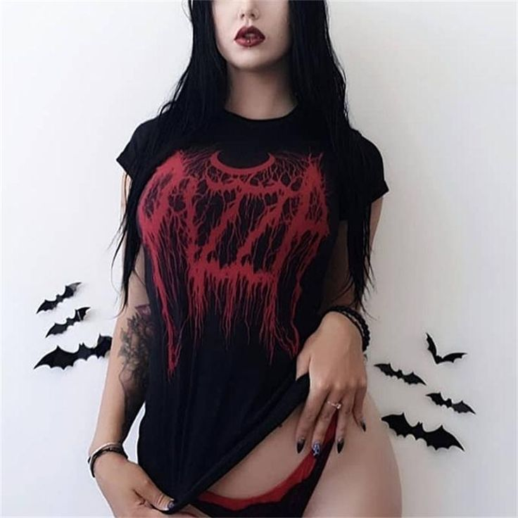 Gothic Dark Black Skinny Grunge Print T-shirt Goth Harajuku Fashion Street Summer 2019 Women Tshirts O-neck Aesthetic T Shirt
