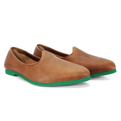 BUY TAN #CONTINENTAL LEATHER #JALSA SLIP-ON WITH GREEN SOLE BY BARESKIN at best price