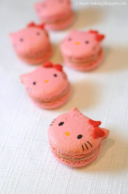 Hello Kitty macaroons!  I have a dear friend who loves Hello Kitty more than her 2 daughters do.  I'm going to attempt to make these for her...or just share the idea with her so she can do it.  :)